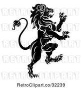 Vector Clip Art of Retro Rampant Lion by AtStockIllustration