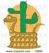Vector Clip Art of Retro Rattlesnake Holding out His Rattle and Curled Around a Desert Cactus by Andy Nortnik
