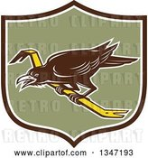Vector Clip Art of Retro Raven Bird on a Crowbar in a Brown White and Green Shield by Patrimonio
