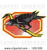 Vector Clip Art of Retro Raven on a Crowbar over an Orange White and Yellow Sunset Hexagon by Patrimonio