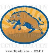 Vector Clip Art of Retro Razorback Boar Running Logo by Patrimonio
