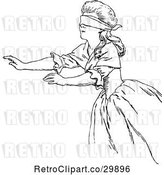 Vector Clip Art of Retro Reaching Blindfolded Lady by Prawny Vintage