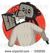 Vector Clip Art of Retro Rear View of a Cameraman Filming in a Red Circle by Patrimonio