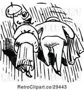 Vector Clip Art of Retro Rear View of a Couple Walking in the Rain by Prawny Vintage