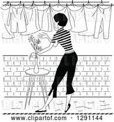 Vector Clip Art of Retro Rear View of a Lady Hanging Laundry out to Dry by Pauloribau