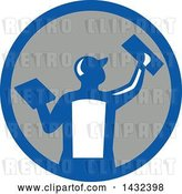 Vector Clip Art of Retro Rear View of a Male Plasterer Worker Using Trowels in a Blue White and Gray Circle by Patrimonio