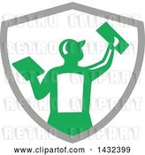 Vector Clip Art of Retro Rear View of a Male Plasterer Worker Using Trowels in a Gray White and Green Crest by Patrimonio