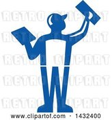 Vector Clip Art of Retro Rear View of a Male Plasterer Worker Using Trowels in Blue and White by Patrimonio