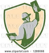 Vector Clip Art of Retro Rear View of a Male Plasterer Working in a Green White and Beige Shield by Patrimonio