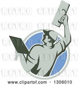 Vector Clip Art of Retro Rear View of a Male Plasterer Working with a Trowel and Emerging from a Gray White and Blue Circle by Patrimonio
