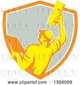 Vector Clip Art of Retro Rear View of a Male Plasterer Working with a Trowel and Emerging from an Orange White and Gray Shield by Patrimonio