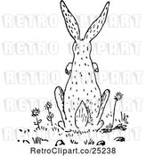 Vector Clip Art of Retro Rear View of a Rabbit by Prawny Vintage
