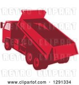 Vector Clip Art of Retro Rear View of a Red Toned Dump Truck Unloading by Patrimonio