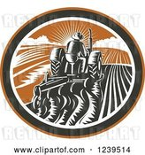 Vector Clip Art of Retro Rear View of a Woodcut Farmer Plowing a Field at Sunset, in an Oval by Patrimonio
