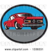 Vector Clip Art of Retro Rear View of a Woodcut Rear Muscle Car in an Oval by Patrimonio