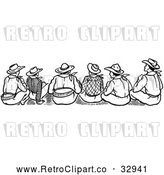 Vector Clip Art of Retro Rear View of Cowboys Sitting by Picsburg