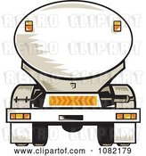 Vector Clip Art of Retro Rear Vview of a Tanker Big Rig Truck by Patrimonio