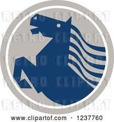 Vector Clip Art of Retro Rearing Blue Horse in a Tan Circle by Patrimonio