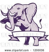 Vector Clip Art of Retro Rearing Elephant and a Ribbon Banner by Patrimonio