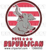 Vector Clip Art of Retro Rearing Political Elephant in a Circle with Vote Republican Text by Patrimonio