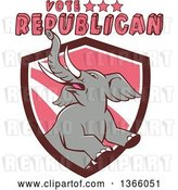 Vector Clip Art of Retro Rearing Political Elephant in a Shield with Vote Republican Text by Patrimonio