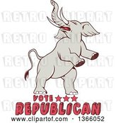 Vector Clip Art of Retro Rearing Political Elephant with Vote Republican Text by Patrimonio