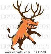 Vector Clip Art of Retro Rearing Razorback Boar Pig Beast with Antlers by Patrimonio