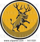 Vector Clip Art of Retro Rearing Razorback Boar Pig Beast with Antlers in a Black White and Yellow Circle by Patrimonio