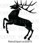 Vector Clip Art of Retro Rearing Stag Deer with Big Antlers by Prawny Vintage