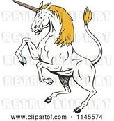 Vector Clip Art of Retro Rearing White Unicorn with Yellow Hair by Patrimonio