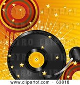 Vector Clip Art of Retro Record Turning over a Bursting Orange Background with Stars and Dripping Circles by Elaineitalia