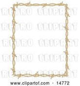 Vector Clip Art of Retro Rectangle Border Frame of Barbed Wire over a White Background by Andy Nortnik