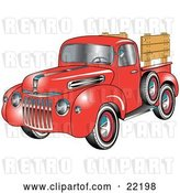 Vector Clip Art of Retro Red 1945 Ford Pickup Truck with a Spacfe Tire on the Side And, Chrome Accents, Red Wall Tires and Wooden Panels Along the Truck Bed by Andy Nortnik