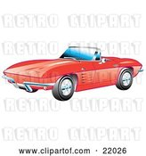 Vector Clip Art of Retro Red 1963 Convertible Chevrolet Corvette with the Top down and Crome Bumpers by Andy Nortnik