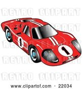 Vector Clip Art of Retro Red 1967 Ford Mark IV GT40 Racing Car with White Stripes and the Number 1 by Andy Nortnik