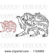 August 14th, 2018: Vector Clip Art of Retro Red and Black Curly Haired Royal Heraldic Lions by Vector Tradition SM