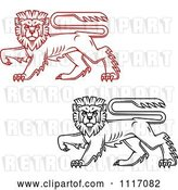 Vector Clip Art of Retro Red and Black Walking Heraldic Lions by Vector Tradition SM