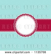 Vector Clip Art of Retro Red and Blue Christmas Background with Dots and a Frame by KJ Pargeter