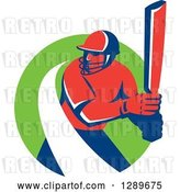 Vector Clip Art of Retro Red and Blue Cricket Batsman with a White Swoosh in a Green Circle by Patrimonio