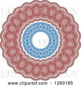 Vector Clip Art of Retro Red and Blue Medieval Lace Circle Design by Vector Tradition SM