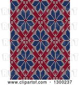 Vector Clip Art of Retro Red and Blue Seamless Scandinavian Embroidery Floral Pattern by Vector Tradition SM
