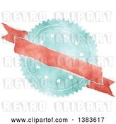 Vector Clip Art of Retro Red and Blue Styled Badge Seal Label with a Blank Ribbon Banner by KJ Pargeter