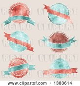 Vector Clip Art of Retro Red and Blue Styled Badge Seal Labels with Blank Ribbon Banners, on Beige by KJ Pargeter