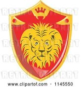 Vector Clip Art of Retro Red and Gold Lion Shield by Patrimonio