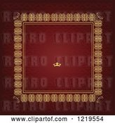 Vector Clip Art of Retro Red and Gold Luxury Wedding Invite with a Crown and Text Space 3 by Leonid