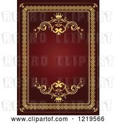 Vector Clip Art of Retro Red and Gold Luxury Wedding Invite with a Crown and Text Space 5 by Leonid
