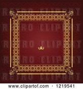 Vector Clip Art of Retro Red and Gold Luxury Wedding Invite with a Crown and Text Space by Leonid