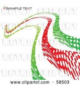 Vector Clip Art of Retro Red and Green Curvy Line Background with Sample Text by MilsiArt