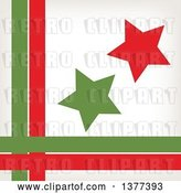 Vector Clip Art of Retro Red and Green Stars with a Border of Lines by Cherie Reve
