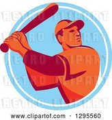 Vector Clip Art of Retro Red and Orange Male Baseball Player Batting Inside a Blue and White Circle by Patrimonio